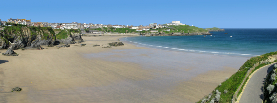 Panoramic view of Great Western beach in Newquay, Cornwall UK.